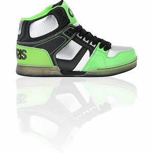 Osiris Kids NYC 83 Black Gunmetal & Neon Lime Skate Shoe