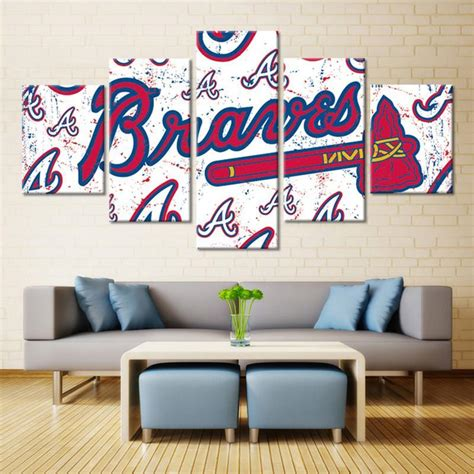 Tons of awesome atlanta braves wallpapers to download for free. Atlanta Braves Baseball Club - Sport 5 Panel Canvas Art Wall Decor - Canvas Storm