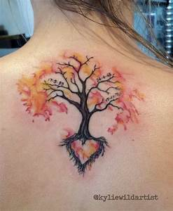 Watercolor Tree Tattoo On Girls Back