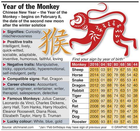 chinese  year   year   monkey find  sign  year  birth infographic