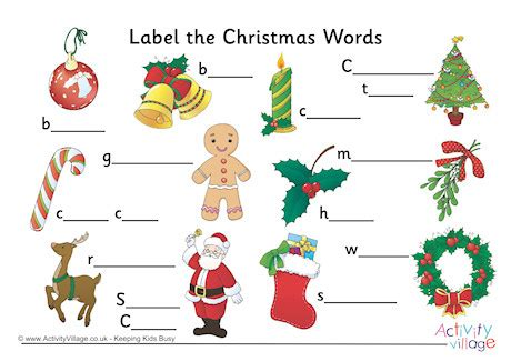 activity village christmas label the words