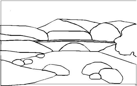 bruecke fluss steine ausmalbild malvorlage landschaften