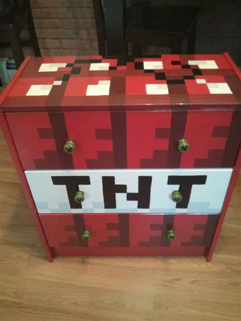 Minecraft Bedroom Drawers by Painted Minecraft 3 Drawer Chest By Artsy Fartsi