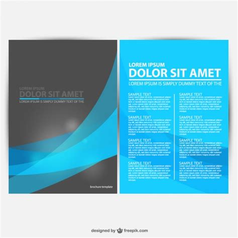Free Downloadable Brochure Templates by Blue And Black Brochure Template Vector Free