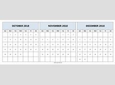 Download October & November & December 2018 Printable
