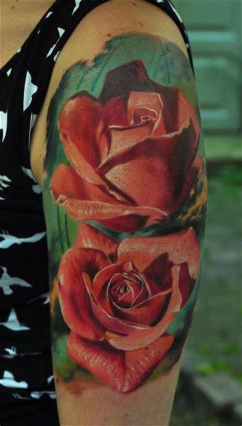 shoulder realistic flower tattoo  negative karma