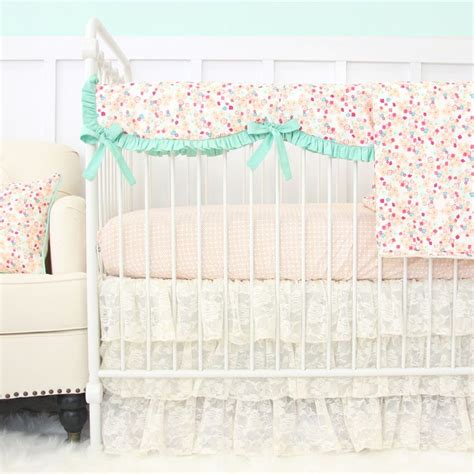 14722 lace crib bedding vintage lace baby bedding mini floral collection lace