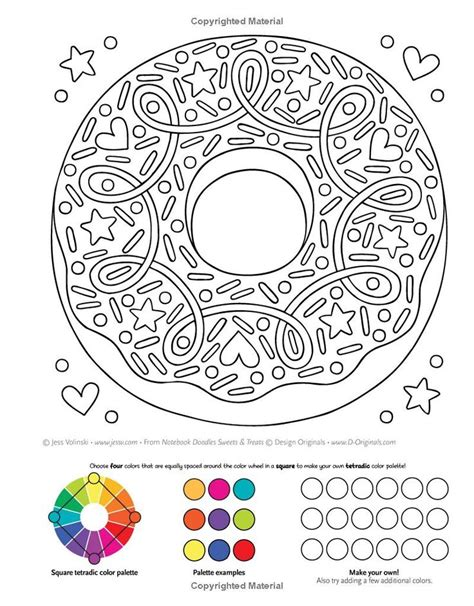 notebook doodles sweets treats coloring activity book