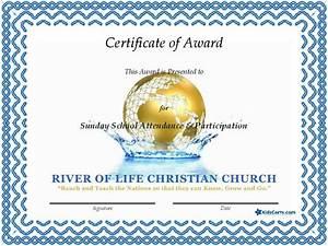 Free Attendance Charts To Print Certificate Of Award Sunday School Attendance Sunday