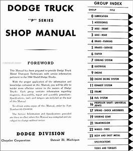 1960 Dodge Pickup Truck  U0026 Power Wagon Repair Shop Manual