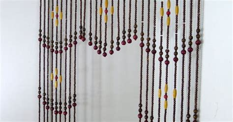 Vintage Wooden Bead Curtain, Beaded Curtain, Room Divider, Hanging Beads, Strands Of Beads, Mod Iron Curtain Countries Map Window Panel Curtains Ideas Pattern Burnt Orange And Brown Magnets For Shower Stall Rods Cheap Energy Efficient Ikea Track System