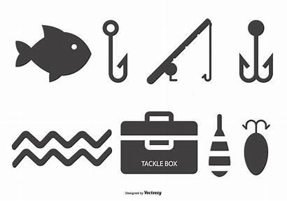 Fishing Icon Vector Fish Silhouette Pole Clipart