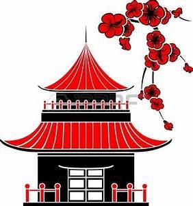 Maison Japonaise Dessin : maison asiatique et cerisiers en fleurs pochoir mosa que maison asiatique maison dessin et ~ Melissatoandfro.com Idées de Décoration