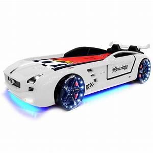 Lit Voiture Garcon : lit voiture pour enfant roadster eclairage led avec sommier 90x190 ~ Teatrodelosmanantiales.com Idées de Décoration