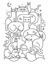 Cats Cat Pattern Patterns Colouring Coloring Line Template Pages Drawing Quilt Colour Sheet Under Designs sketch template
