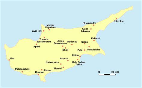 Griechischer Teil Zypern Karte
