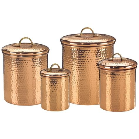 copper kitchen canisters copper canister set decor hammered 843