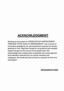 A project report on TQM