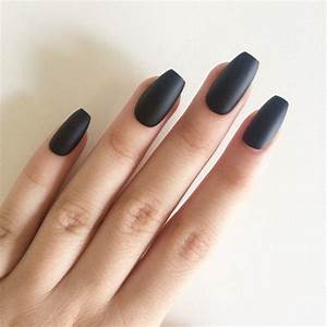 Matte black coffin nails, hand painted acrylic nails, fake ...