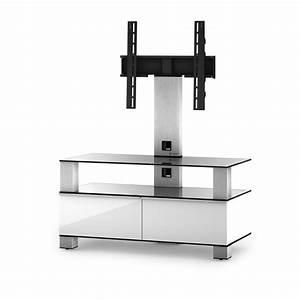 Meuble Avec Support Tv : meuble tv sonorous md8953 c inx blk verre claire noir ~ Dailycaller-alerts.com Idées de Décoration