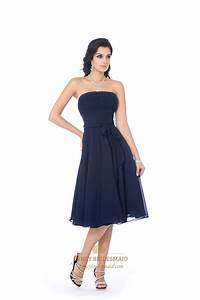 Navy Blue Strapless Knee Length Chiffon Bridesmaid Dress ...