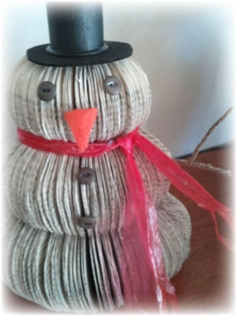 upcycled book snowman christmas decoration hometalk