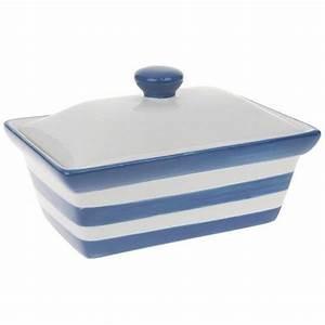 NEW VINTAGE RETRO BLUE BAND CERAMIC BUTTER DISH KITCHEN