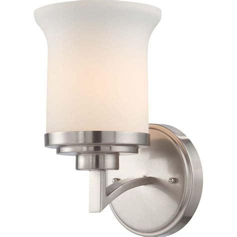 sea gull lighting driscoll 3 light brushed nickel wall bath vanity light with inside white