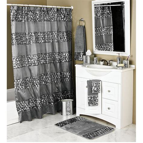 sinatra silver bling shower curtain and bath accessories