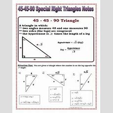 Special Right Triangles Foldable  High School Algebra  Special Right Triangle, High School