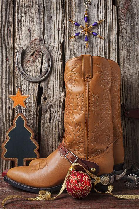 cowboy boots  christmas ornaments photograph  garry gay