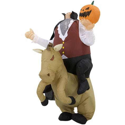 inflatable headless horseman illusion costume  green head