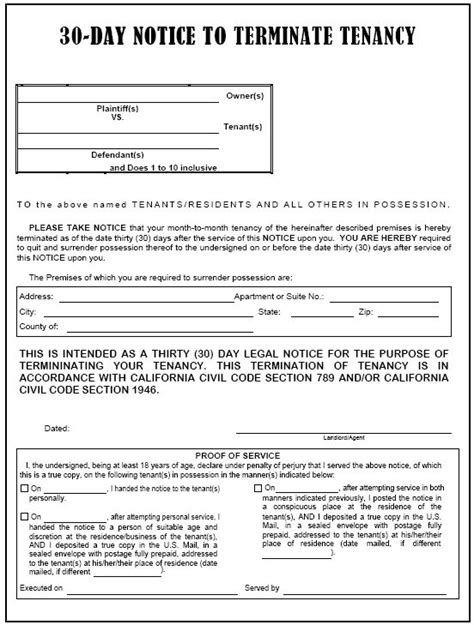 Notice To End Tenancy Template by California 30 Day Notice To Terminate Tenancy Evictme
