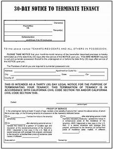California 30 day notice to terminate tenancy evictme for Notice to end tenancy template