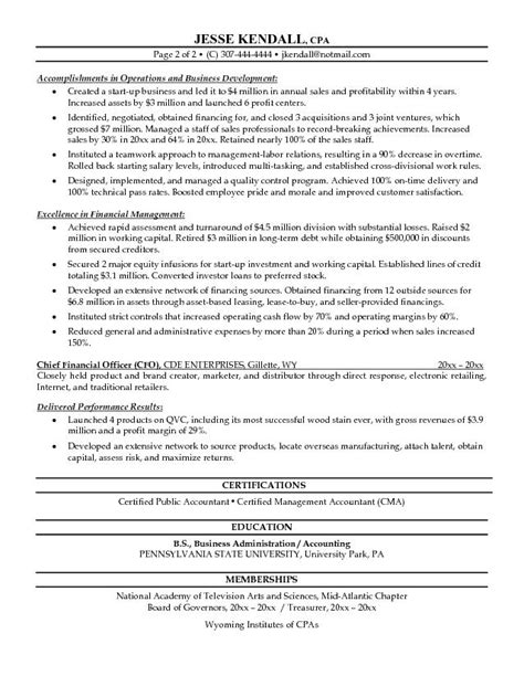 free chief financial officer cfo resume exle