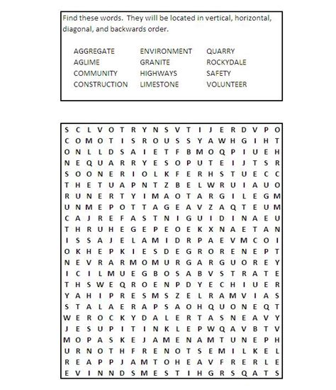 Construction Safety Word Search