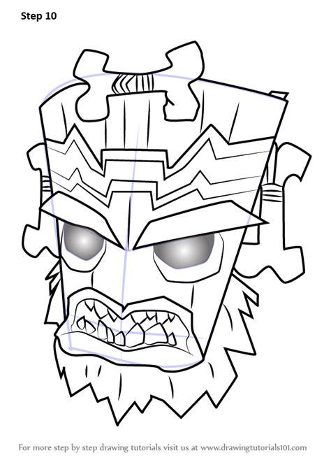 learn   draw uka uka  crash bandicoot crash bandicoot step  step drawing tutorials