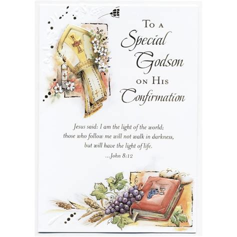 special godson confirmation card  catholic gift store