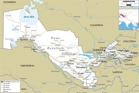 road map  uzbekistan ezilon maps