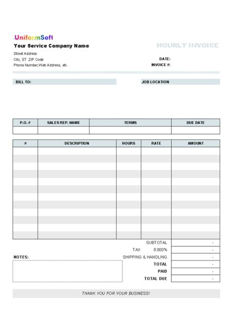 hourly invoice form free and software reviews