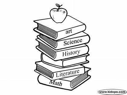 Books Coloring Pages Stack Drawing Schoolbooks Pile