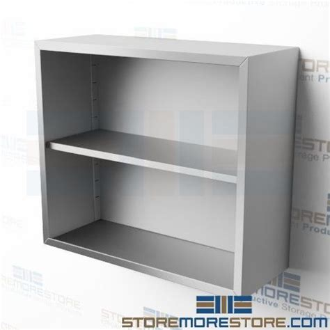 stainless hanging cabinet  doors open wall hung