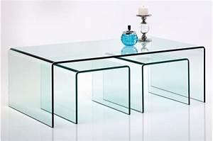 Table Basse En Verre Pas Cher : set de 3 tables gigognes en verre fidji tables basses ~ Melissatoandfro.com Idées de Décoration