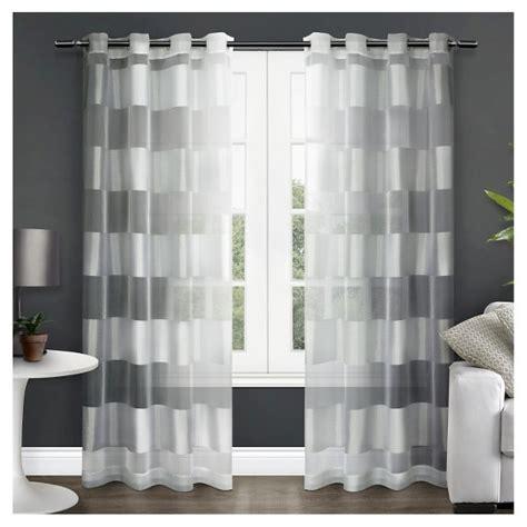 set of 2 navaro striped sheer grommet top window curtain