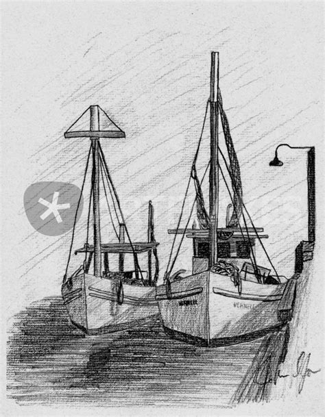 Boat Art Drawing by Quot Papa Buds Shrimp Boat Quot Drawing Art Prints And Posters By
