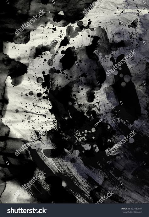 Abstract Black Ink by Abstract Black Ink Painting On Grunge Stock Illustration