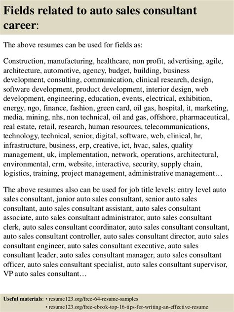 Car Sales Consultant Description Resume by As You Are Confused About How To Write An Auto Sales Resume You Can Just Sle Car Salesman