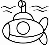 Submarine Coloring Underwater Yellow sketch template