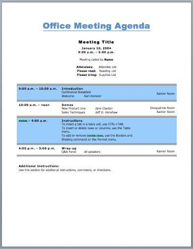 office meeting agenda template  business purpose