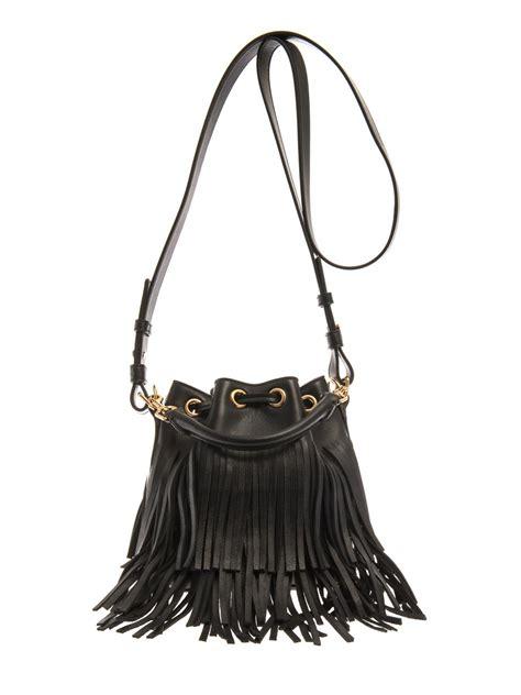 lyst saint laurent fringed leather bucket bag  black